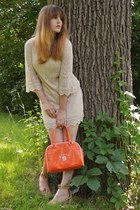 beige knit h&m divided dress - orange bowling bag vintage purse