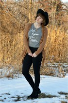heather gray Aeropostale shirt - H&M boots - Forever 21 hat