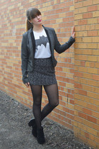 gray blazer - black tuxedo stripe tights - white Forever 21 t-shirt