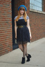 Black-boots-black-lace-dress-turquoise-blue-thrifted-hat