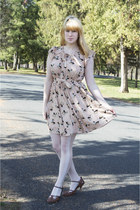 eggshell OASAP dress - white OASAP tights - brown thrifted heels