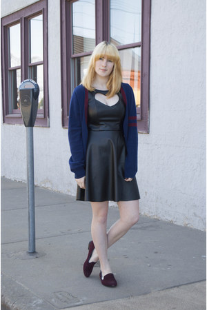 black leather DRJays dress - H&M bag - navy Forever 21 cardigan
