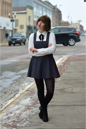 black Forever 21 dress - H&M boots - white Forever 21 blouse