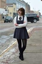black Forever 21 dress - H&M boots - white Forever 21 blouse