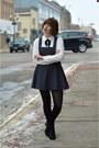 H-m-boots-black-forever-21-dress-white-forever-21-blouse