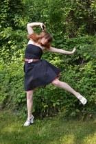 black polka dot dress - brick red morroccan vintage belt - white thrifted wedges