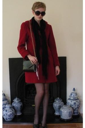 red coat - black Target scarf - shoes - black cotton on sunglasses - - black Tar