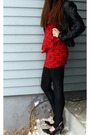 Red-forever21-dress-black-forever21-jacket-black-wet-seal-shoes