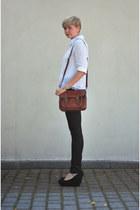 bronze New Yorker bag - black H&M pants
