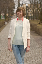 aquamarine Zara jumper - ivory H&M blazer - carrot orange H&M Trend necklace