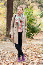 aquamarine Zara scarf - tan trench coat - navy Zara jeans