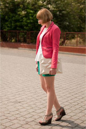 hot pink Bershka blazer - teal H&amp;M shorts - pink by dziubeka bracelet