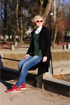 red Puma sneakers - blue Wrangler jeans - green Cubus jumper