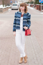 blue Zara jacket - red Zara bag - white H&M pants