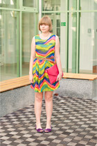chartreuse Sheinside dress - hot pink Ebay bag