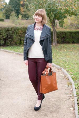 cream Vero Moda jumper - maroon Stradivarius pants - pink Vero Moda necklace
