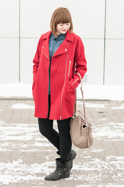 red asos coat - beige Sisley bag - black H&M pants