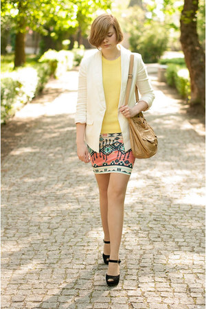white H&amp;M blazer - aquamarine Bershka skirt - light yellow Zara jumper