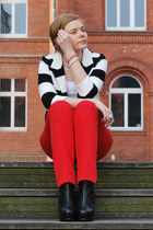 black H&M blazer - black asos wedges - red Frank Q pants - white H&M t-shirt