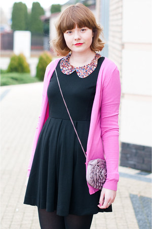 bubble gum new look bag - black H&amp;M dress - hot pink Stradivarius cardigan