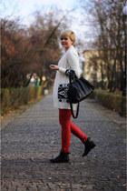 red Bershka pants - black H&M boots - white H&M jumper