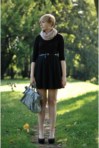 black H&M dress - light pink H&M scarf - black H&M wedges