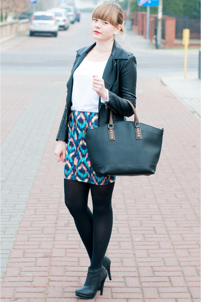 blue pull&bear skirt - black sholove boots - dark gray Zara jacket