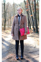 hot pink Ebay bag - camel pull&bear coat