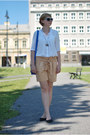 White-zara-shirt-blue-new-yorker-bag-nude-mango-shorts