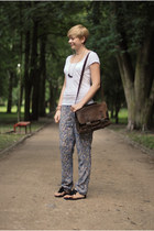sky blue New Yorker pants - brown vintage bag - black H&M sandals