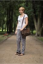 sky blue New Yorker pants - brown vintage bag - black H&M sandals
