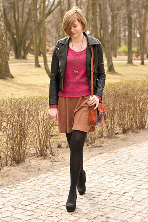 burnt orange H&M skirt - black Sheinside jacket - hot pink H&M jumper