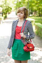 navy H&amp;M blazer - red OASAP bag - teal OASAP skirt
