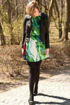 black Sheinside jacket - chartreuse AX Paris dress - black asos flats