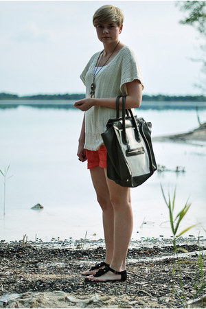 white Mizensa bag - red H&M shorts - black H&M sandals