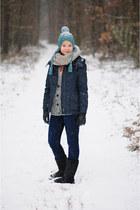 navy H&M jacket - black Emu boots - turquoise blue Bershka hat