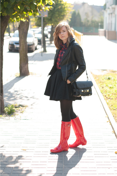 red Hunter boots - black Mango blazer - ruby red Sinsay shirt - black Zara skirt