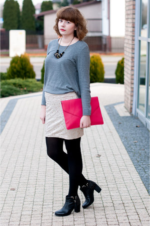 heather gray H&amp;M jumper - hot pink Ebay bag - tan H&amp;M skirt