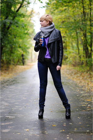 purple Zara blouse - black allegro jeans - black asos wedges