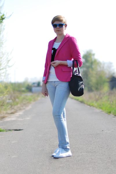 sky blue H&M jeans - hot pink no name blazer - black etorebka bag