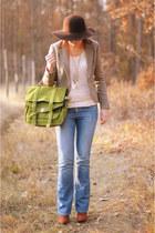lime green Mizensa bag - sky blue troll jeans - bronze Bershka hat