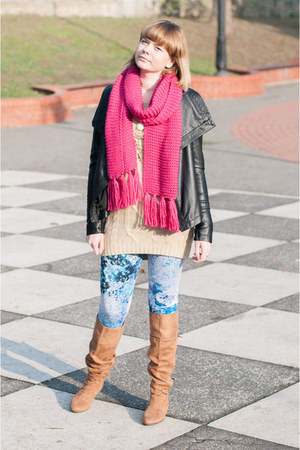hot pink H&M scarf - black Ebay jacket - sky blue Lana Del Rey for H&M leggings