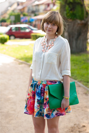 cream Zara shirt - green OASAP bag - blue romwe skirt