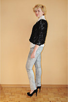 black sholove heels - white H&M shirt - black OASAP blouse