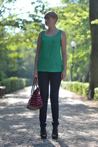 navy Lee jeans - ruby red H&M bag - green Zara blouse - black Atmosphere wedges