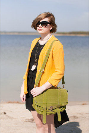 yellow SH jumper - black OASAP dress - lime green Mizensa bag