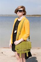 yellow SH jumper - black OASAP dress - lime green Mizensa bag