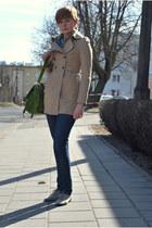 beige H&M coat - blue cropp jeans - chartreuse Mizensa bag