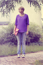 light blue gestuz jeans - purple Zara shirt - bubble gum Ebay bag