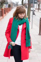 red Zara coat - green H&M scarf - navy Zara pants
